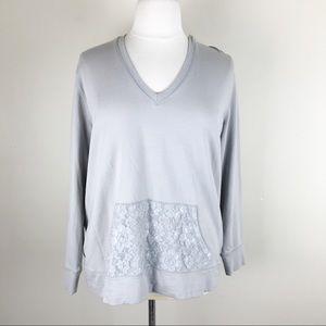 Torrid Grey Lace Hoodie Pullover Sweatshirt 2X